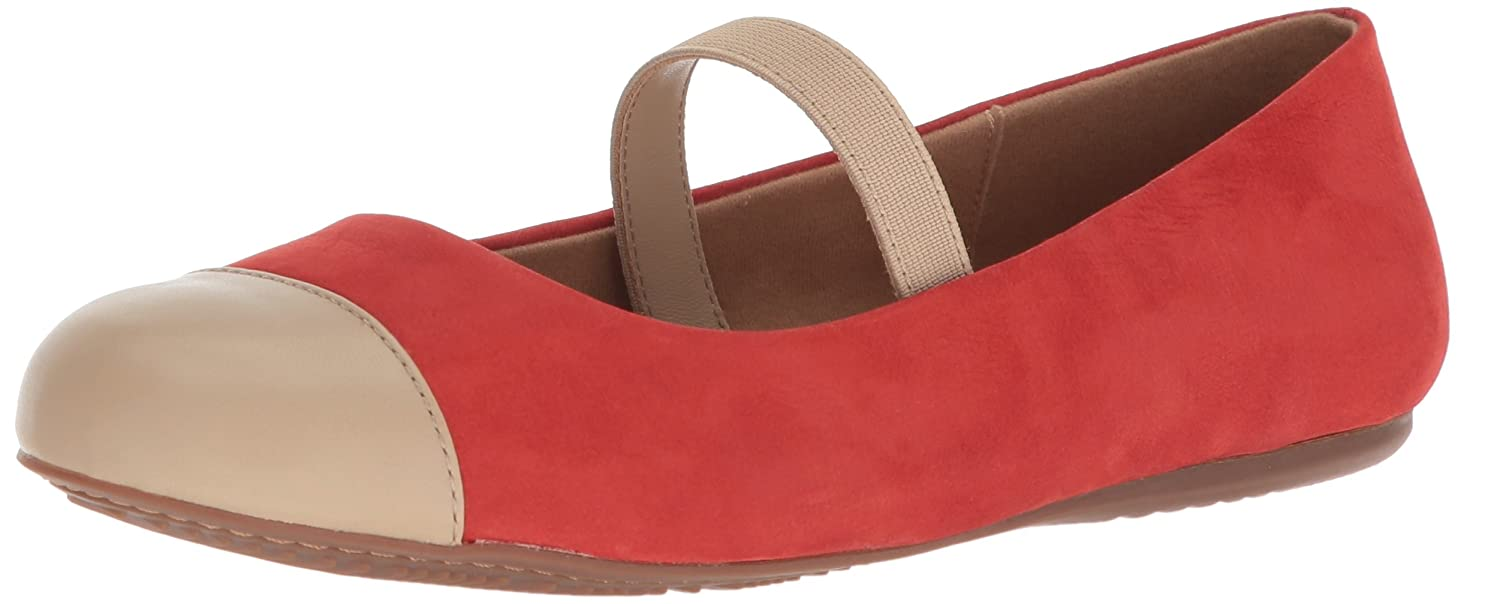 SoftWalk Women's Napa Mj Mary Jane Flat B073BTBW5F 8.5 2W US|Red/Nude