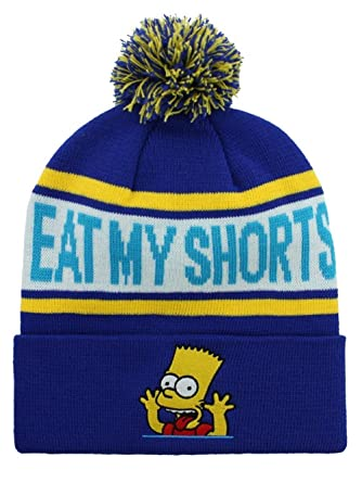 76739d09533 The Simpsons - Eat My Shorts - Official Bobble Hat (Beanie) (OS)  Amazon.co. uk  Clothing