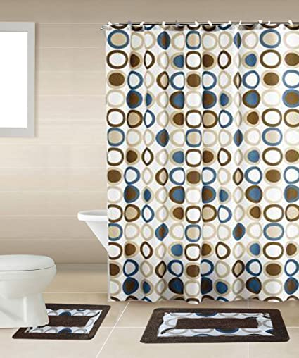 Amazon Sami Brown Blue Circle 15 Piece Bathroom Accessory Set