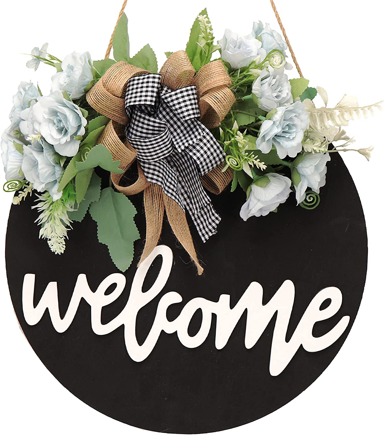 Welcome sign for front door summer wreaths for front door fall spring wreath welcome home sign door wreaths for front door outside farmhouse front porch decor outdoor decorations hanging gifts (A)