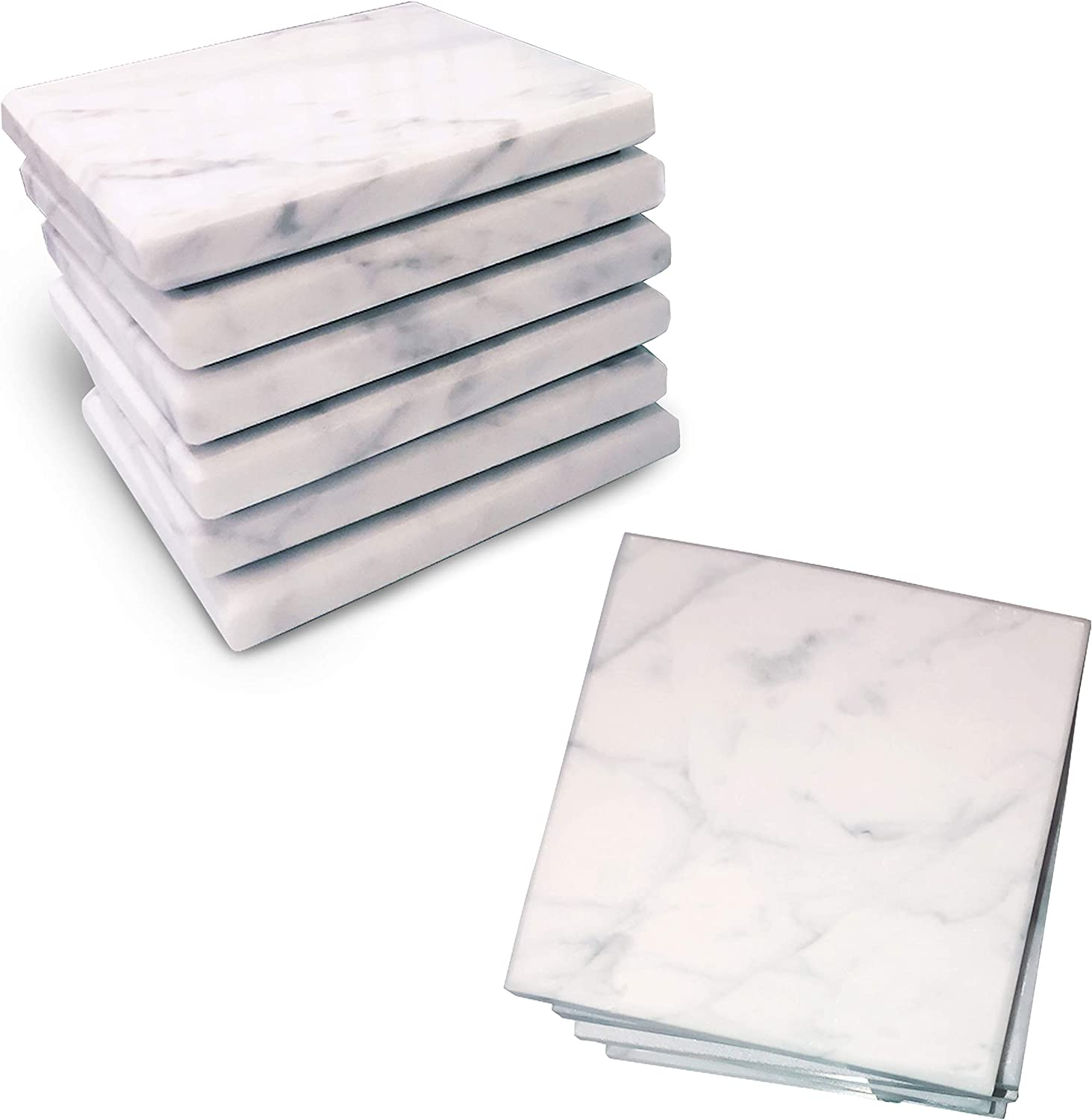 Marble Coaster 100% real marble absorbent coasters set - with felt back, protects desktops, countertops, prevents water rings, great gift for holidays, home decor, housewarming, kitchen, set of 6