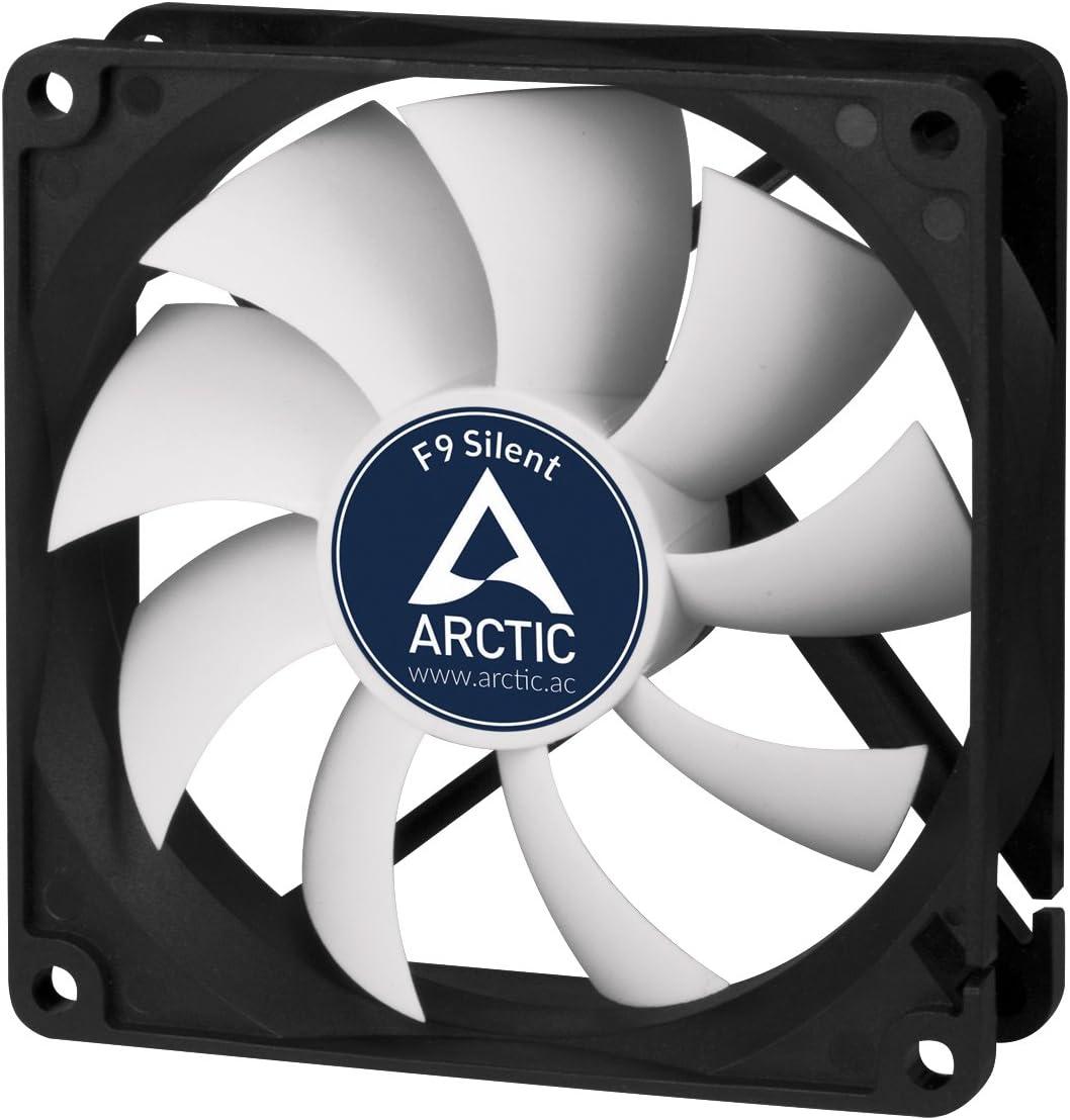 ARCTIC F9 Silent – 99 mm Ventilador de Caja para CPU, Motor Muy Silencioso, Computadora, 1000 RPM – Gris/Blanco