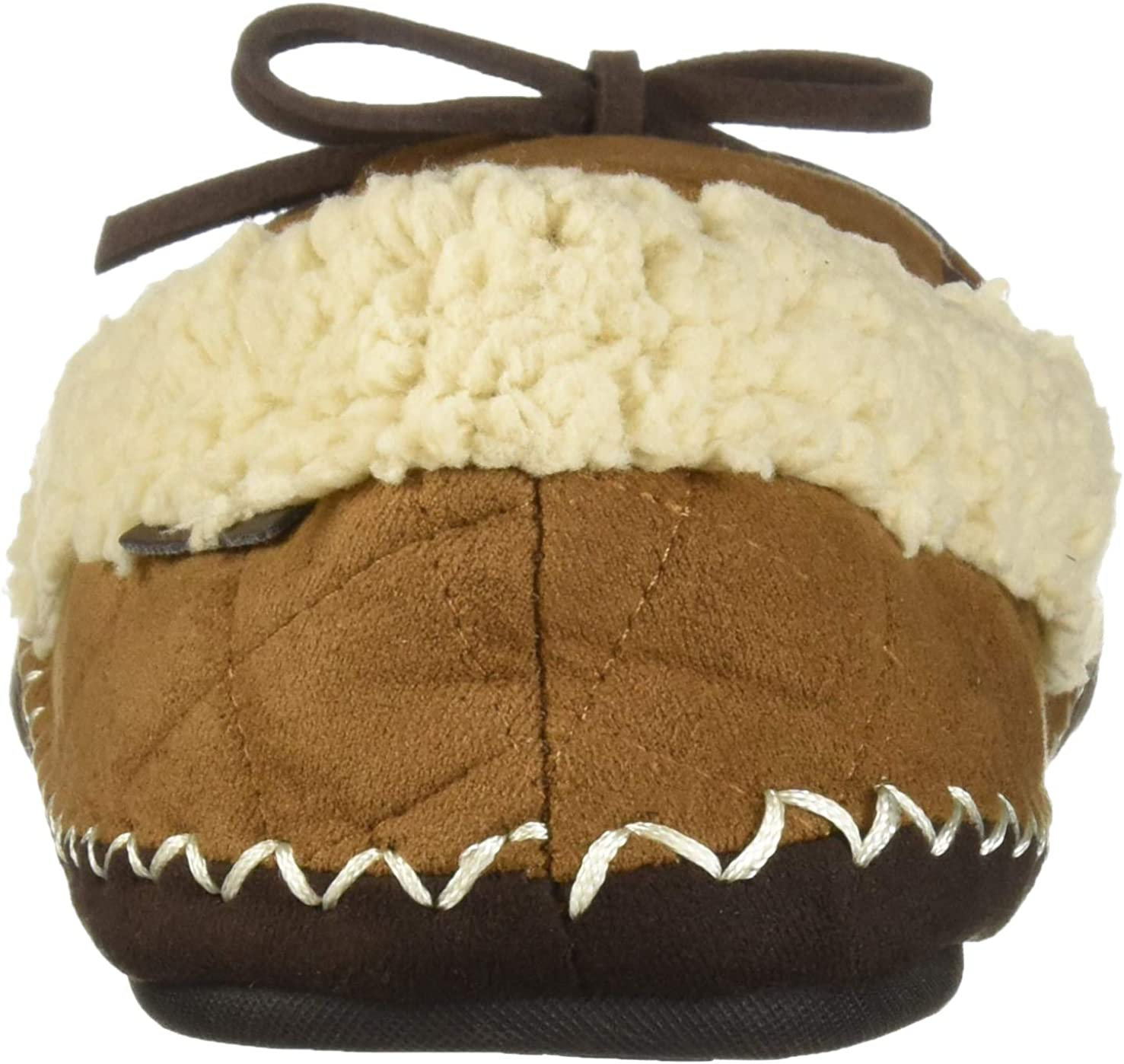 Dearfoams Mens Microsuede Moccasin with Quilting Slipper Chestnut M Regular US