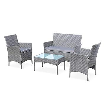 Salon de Jardin en résine tressée - Moltès - Gris, Coussins Gris - 4 Places  - 1 canapé, 2 fauteuils, Une Table Basse