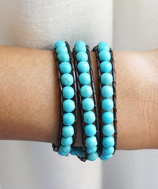 Turquoise Blue Wrap bracelet Yellow Women/'s double lap bracelet Green Italian genuine leather