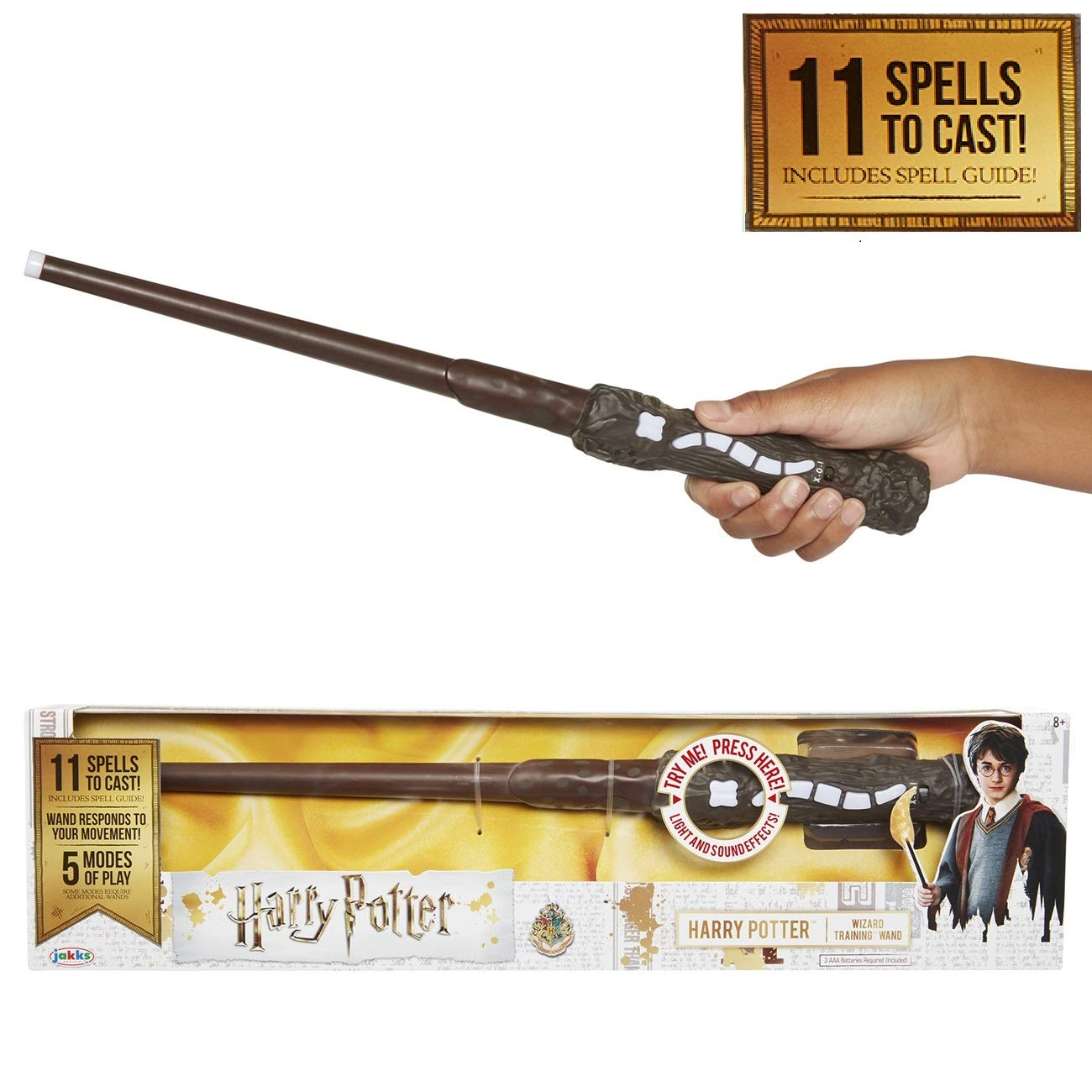 Harry Potter, Wizard Training Wand - 11 SPELLS To Cast Official Toy Wand with Lights & Sounds - Albus Dumbledore Wand & Lord Voldemort Wand Also Available by HARRY POTTER
