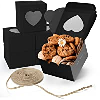 VGoodall 14 PCS Black Bakery Boxes with Window 4x4x2.5 Inches Cupcake Gift Boxes,18M Linen Ribbon for Bakery Wrapping…
