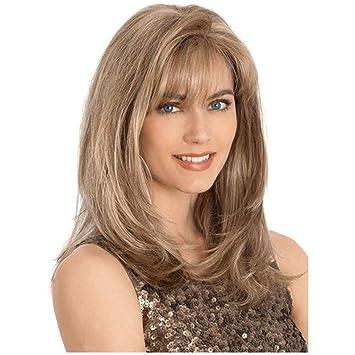 SHKY Moda larga recta gris pelucas de pelo completo con franja de alta densidad peluca para