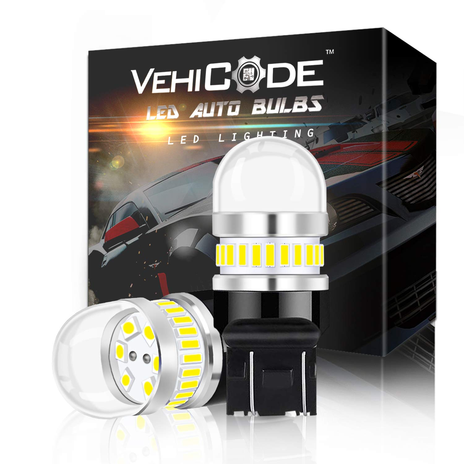 2 Pack 3156//3457//3057//4157//4114 Daylight Daytime Running Backup LED Light Bulb 6000K White Dual Function Replacement for Reverse Kit Parking Lamps VehiCode Super Bright 950 Lumens 3157