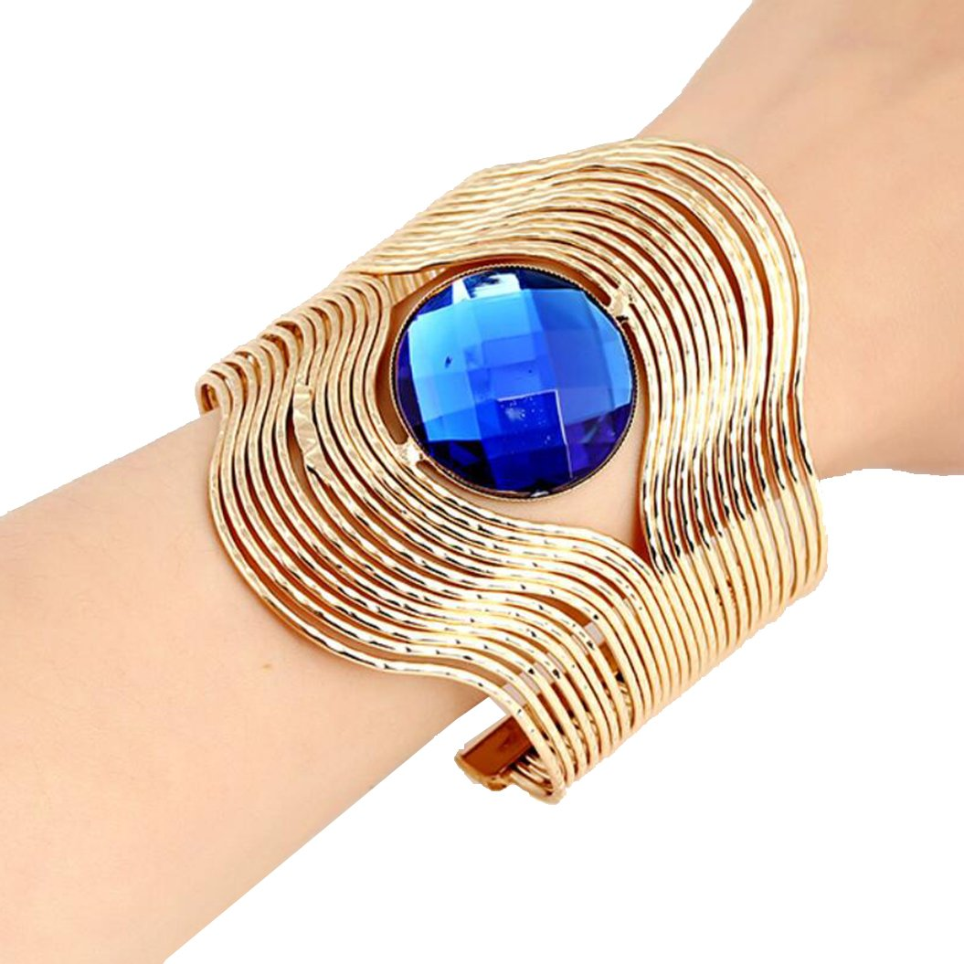 Personality stripes round gemstone opening bracelet (Gold)