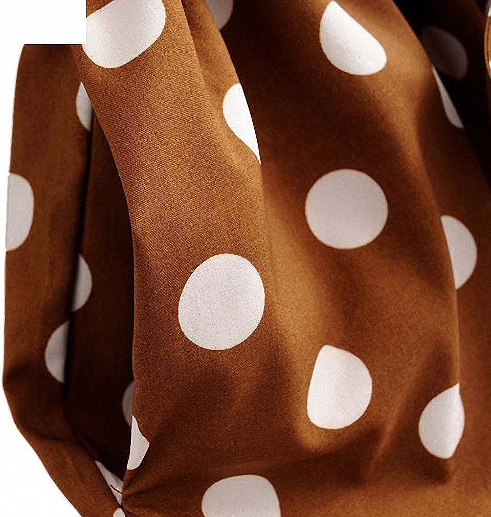 Hiuwa Womens Bow Tie Sashes Dot Pattern Elastic Waist Short Sleeve Midi Dresses