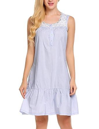 Goldenfox Womens Square Neck Sleeveless Cotton Lace Night Gown Victoria  Sleepwear (Gray 0e0e104f4