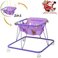 Baybee Stylish 2 in 1 Baby Walker - Baby Walker with Hanging Chair for 6-12 Months Baby boy and Girl (Violet)