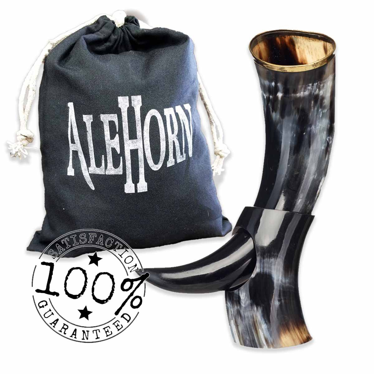 Alehorn - Genuine Drinking Horn - Polished Finish - Medieval Viking Norse Beer Mug - Game of Thrones Cup Goblet for Beer, Mead, Ale - Waterproof Interior - Curved Style (12'', Polished Horn) by AleHorn