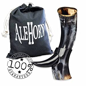 "Alehorn - Genuine Drinking Horn - Polished Finish - Medieval Viking Norse Beer Mug - Game of Thrones Cup Goblet for Beer, Mead, Ale - Waterproof Interior - Curved Style (12"", Polished Horn)"