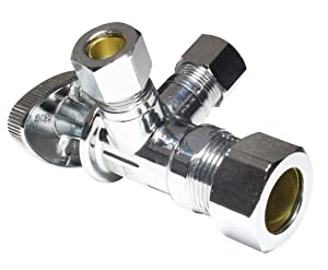 Dual Compression Outlet Angle Stop Valve Plumbing Fitting, Quarter Turn, Single Handle Multi-Select Positions, Water Valve Shut Off 1/2 inch x (3/8 inch x 3/8 inch)