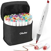 72 Colors Alcohol Markers, Ohuhu Brush & Chisel Double Tipped Sketch Marker for Kids, Artist, Alcohol Brush Art Marker Set Bonus 1 Blender for Sketching, Adult Coloring, Great