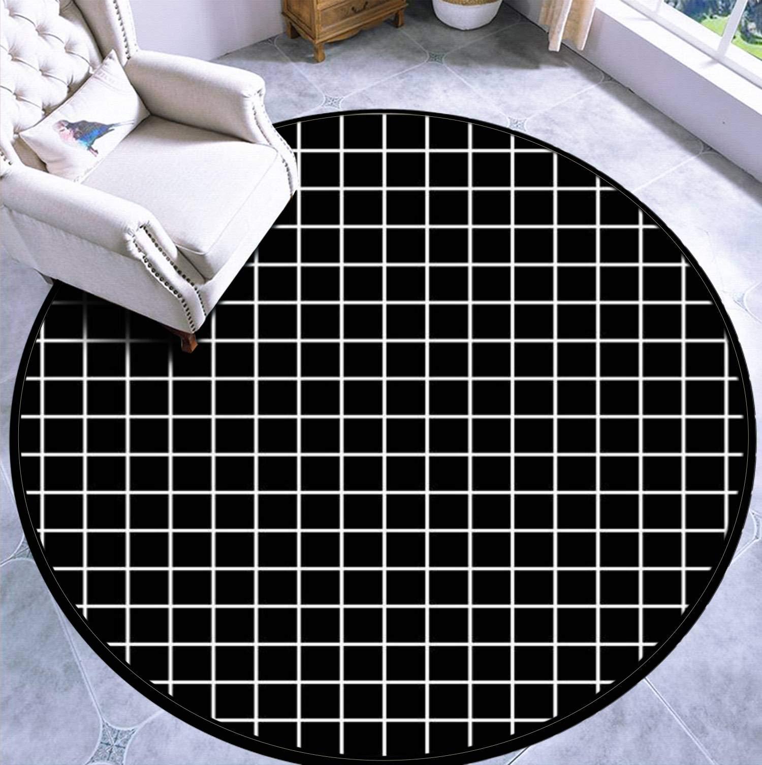 Round Area Rug Kids Carpet Playmat Non-Slip Throw Runner Rug Black GRIDS Design Indoor Floor Carpet Door Mat for Bedroom Living Room Home Decor by APED DECOR