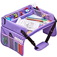 Kids Travel Tray, Car Seat Tray for Toddler + Free Bag & E-Book - Keeps Children Entertained (Pink)