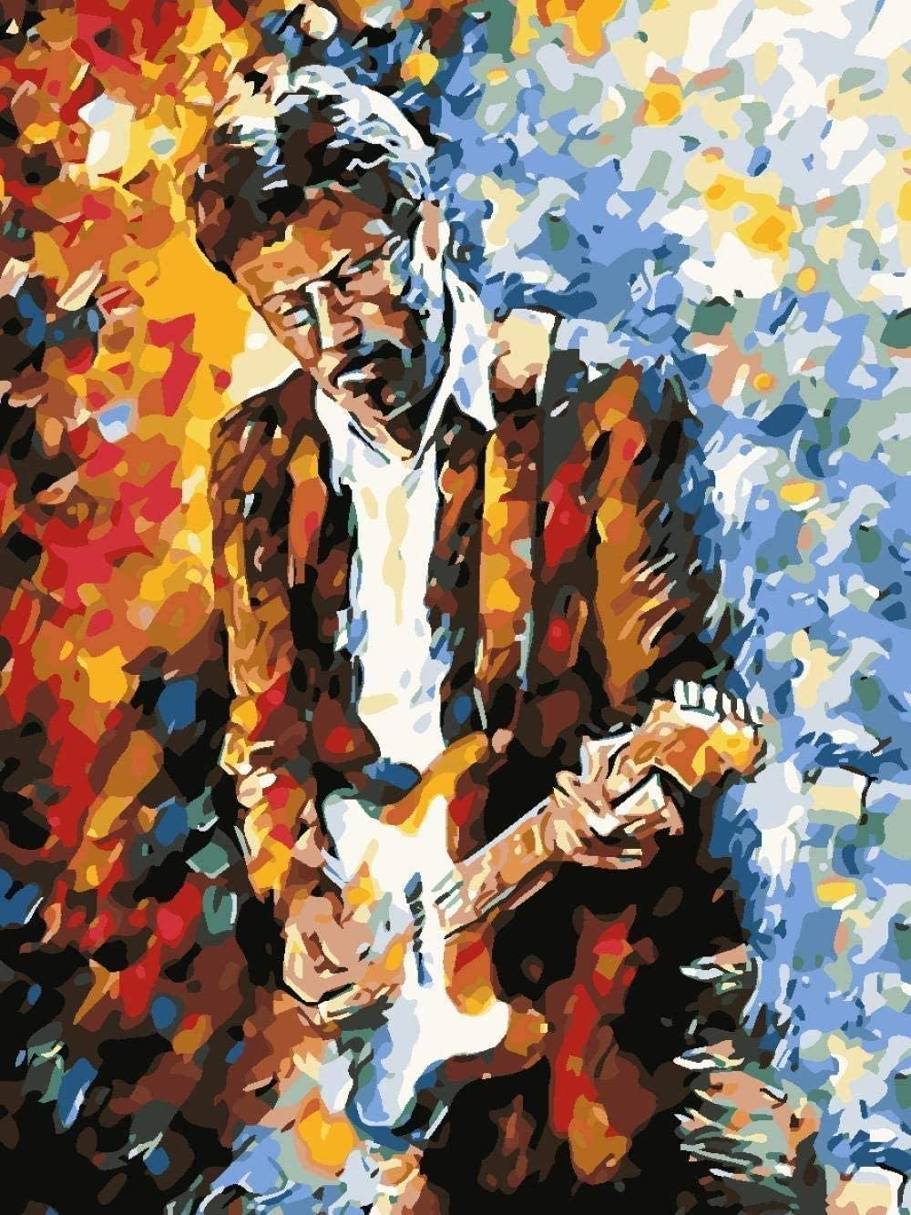 Diy Cuadro De Pintura Digital Número De Pintura Hombre Adulto Tocando Guitarra Música Pintura Kit Digital Para Niños Principiantes Adultos Con Pincel Y Pintura Regalo Decoración De Cumpleaños