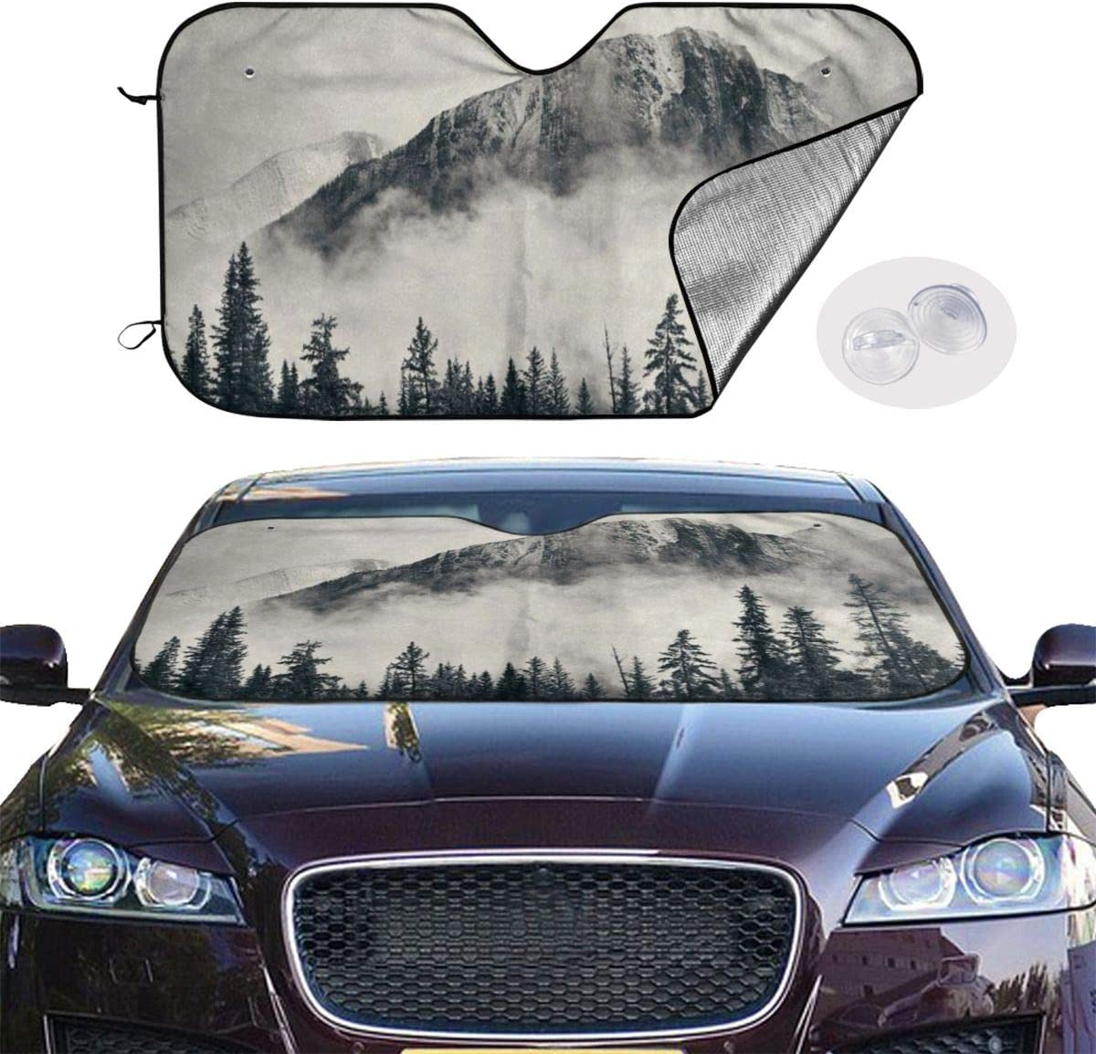 TianHeYue Foggy Mountain Forest Landcape Nature Car Windshield Sun Shade Universal Fit UV Sun and Heat Reflector 130x70cm