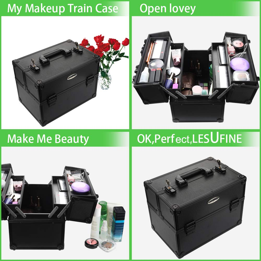 Makeup Train Case Professional Large Makeup Case with 4 Trays and 2 Locks Makeup Cases Organizer Black 13 Inch by LESUFINE