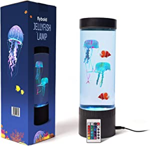 Jellyfish Lamp LED Fantasy Lava Lamp 20 Color Changing Light with 2 Jelly Fish 2 Clownfish Remote USB Electric Mood Lamp Large Decoration Night Lamps Tank Aquarium Home Office Gift for Men Women Kids