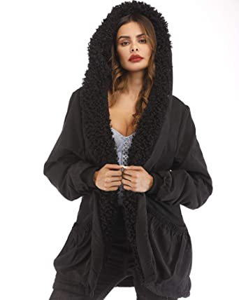 54f3ac0050 Roiii Plus Size Womens Military Hooded Warm Winter Coats Faux Fur Lined  Parkas Black