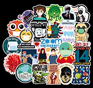50Pcs Silly Germ Stickers for Laptop,Water Bottles,Refrigerator, Bathroom, Wall, Classroom,Trendy Popular Random Waterproof Decal Covid 19 Sticker Pack for Teens,Kids,Adults,Child,Student