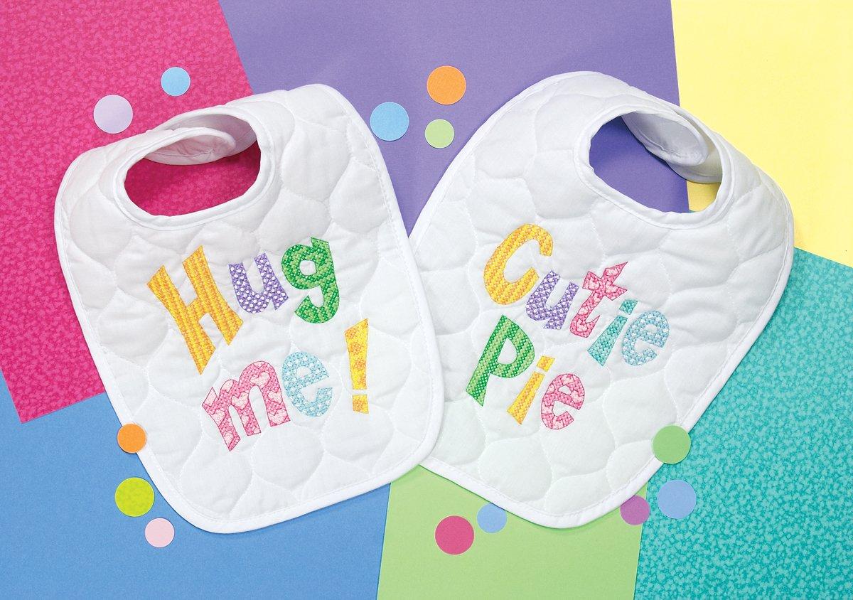 2 pc Dimensions Stamped Cross Stitch Hug Me and Cutie Pie DIY Baby Bibs 9 x 14