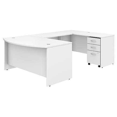 Studio C 60W x 36D U Shaped Desk with Mobile File Cabinet in White