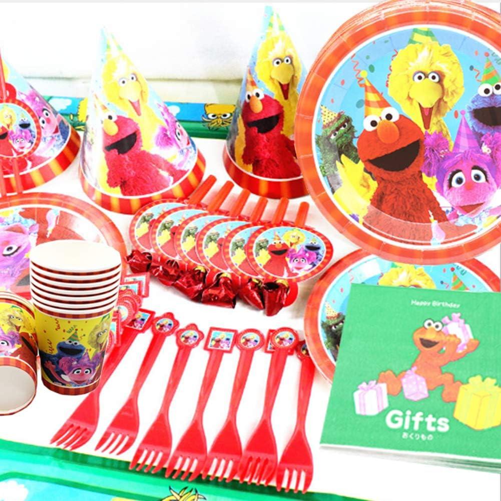 REYOK Forniture per Feste di Compleanno per Bambini Tema Sesame Street,74pcs Decorazione di Compleanno di Sesame,Include USA e Getta Piatti,Tazza,Tovagliol e Cannucce per Festa Compleanno Bambini