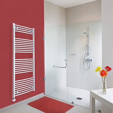Hudson Reed Toalla Radiador Etna – Calefactor eléctrico para baño con peldaños de escalera curvada en