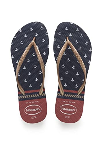 4aea126eb50260 Havaianas Women s Slim Nautical Rubber Flip Flop Navy Red-Navy-2 3