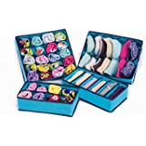 House of Quirk Set of 4 Foldable Storage Box Drawer Divider Organizer Closet Storage for Socks Bra Tie Scarfs - Blue