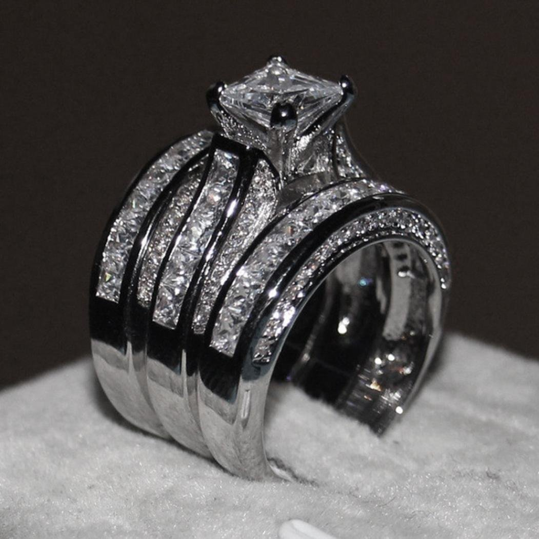 Wensltd 3-in-1 Womens Vintage White Diamond Silver Engagement Wedding Band Ring Set (#9, Silver)