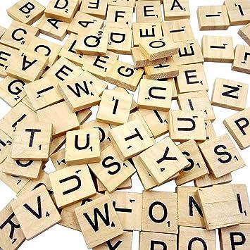 PetHot® 200 Piezas Letras de Madera Scrabble, Alfabeto Madera A a Z para Manualidades DIY Decoración, educación Infantil educación Preescolar para niños Juegos significativos para Amigos y Familiares: Amazon.es: Juguetes y juegos