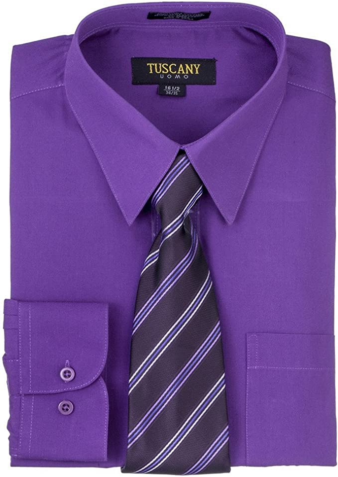 Purple Solid Mens Dress Shirt