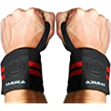 POWERLIFTING WRIST WRAPS FOR WEIGHTLIFTING by Emerge - Long Lasting Straps with Durable Velcro - For Powerlifting Weightlifting Strength Training - Unisex Wrist Brace Support