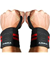 POWERLIFTING WRIST WRAPS FOR WEIGHTLIFTING - Long Lasting Straps with Durable Velcro - For Powerlifting Weightlifting Strength Training - Unisex Wrist Brace Support - 100% Lifetime Quality Guarantee
