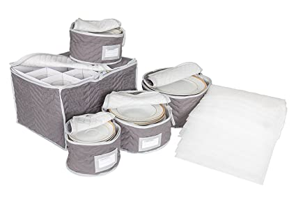 Charmant China And Stemware Storage Set Deluxe Microfiber With Braidz Foam Padding    Grey