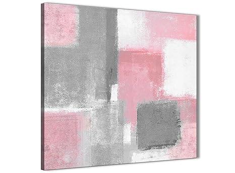Blush rosa grigio pittura accessori per il bagno canvas wall art