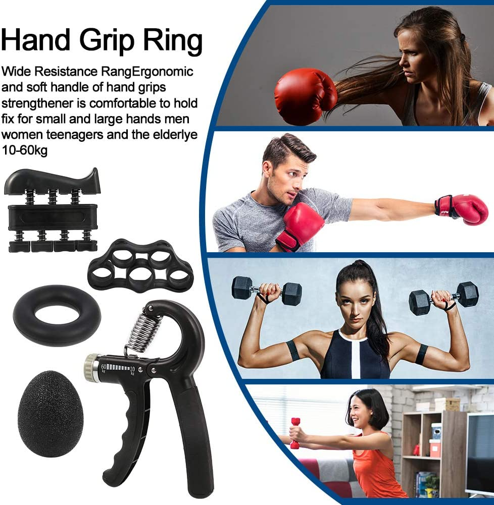 Rubywoo/&chili 5 Pack Hand Grips Strengthener Exerciser Equipment Finger Exerciser Training Equipment Hand Grip Strengthener Set for Athlete Musicians