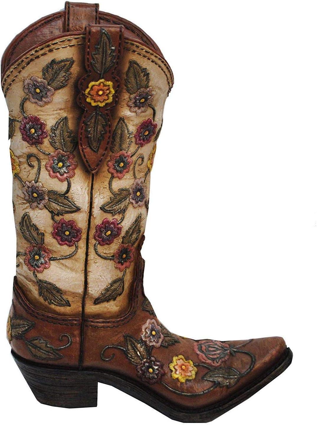 HiEnd Accents Flower Design Cowboy Boot Vase, 13 x 9 x 3 , Cream Brown