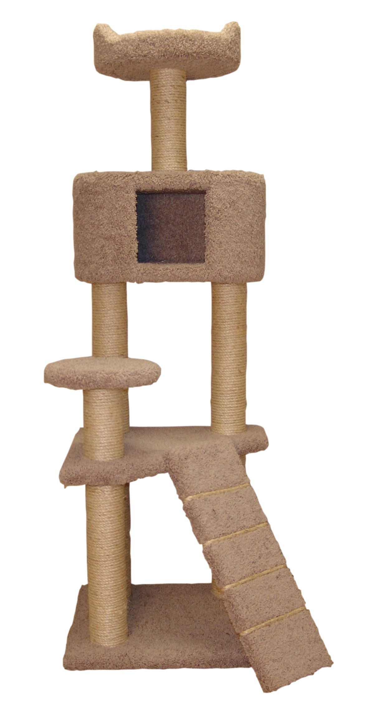 Classy Kitty 64'' 5 Story Cat Tree with Condo and Sky Lookout and Ramp-Natural Beige 28x30x64