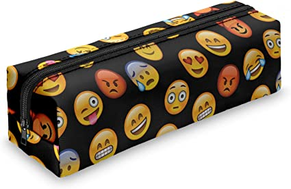 Estuche cuadrado con estampado de emoticonos, estuche holográfico de viaje, con cremallera, color Emoji Black: Amazon.es: Oficina y papelería