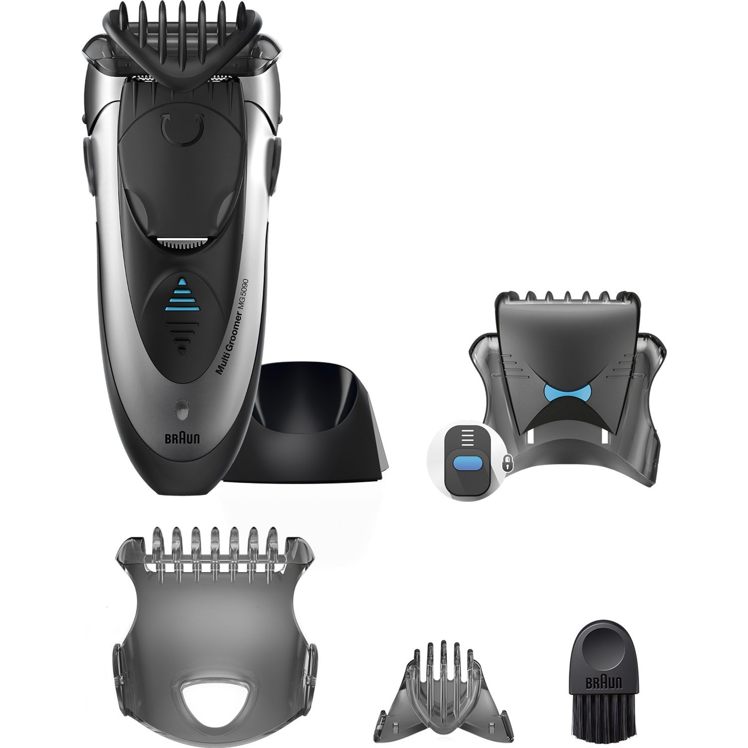 Braun Cordless WASHABLE Mens Hair Trimmer and Multi Groomer with Multiple Attachment Combs and BONUS FREE Body Spray Included by Old Spice