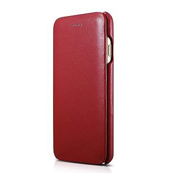 56350d7f69 Amazon.co.jp: ICARER iphone7/8 カバー 手帳型 ガラス張り革 本革 牛革 ...