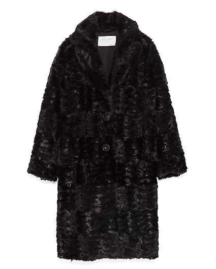 f829fe60d3 Zara Women's Buttoned Faux Fur Coat 2969/286 Black: Amazon.co.uk ...