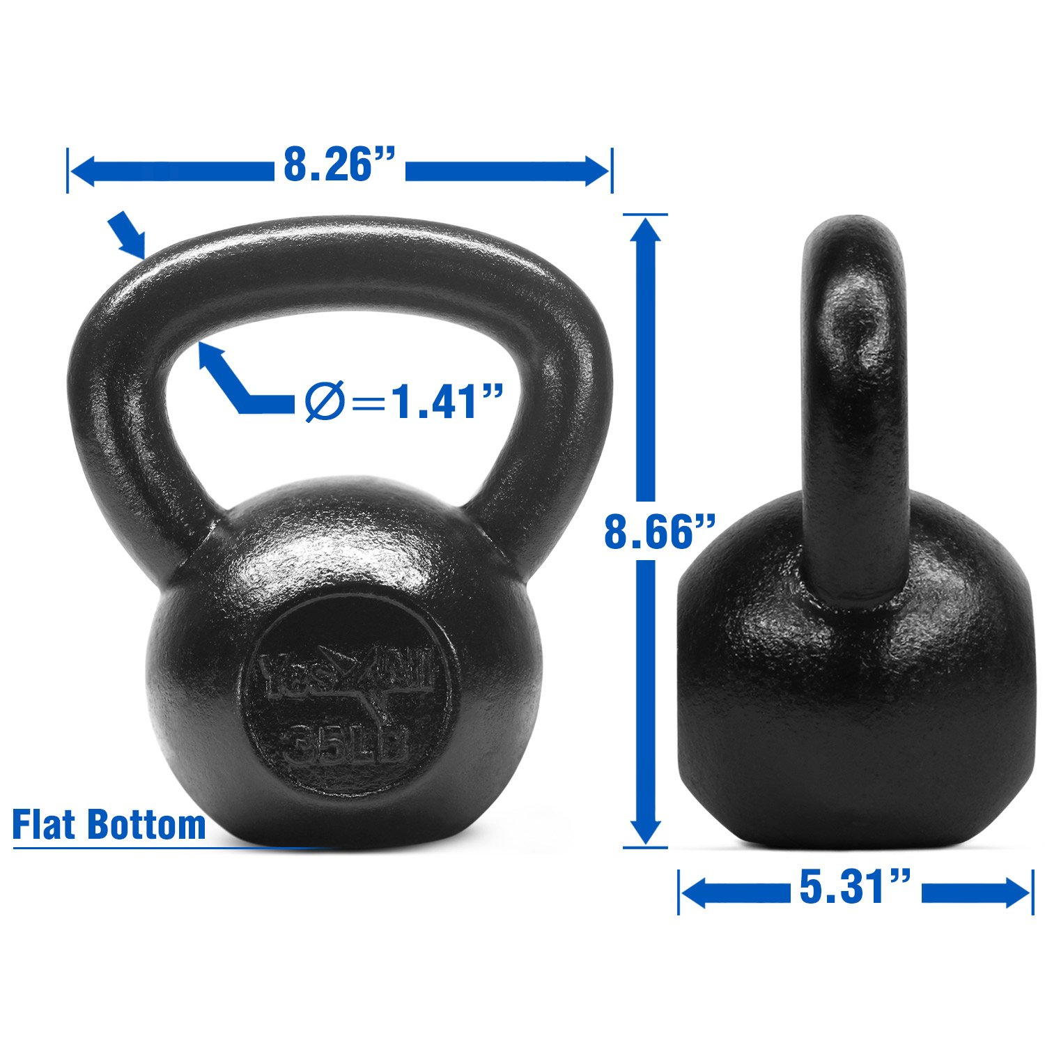 Yes4All Solid Cast Iron Kettlebell Weights Set - Great for Full Body Workout and Strength Training - Kettlebell 35 lbs (Black) by Yes4All (Image #3)